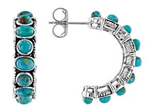 Blue Turquoise Rhodium Over Silver J-Hoop Earrings