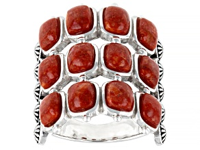 Red Sponge Coral Rhodium Over Sterling Silver Multi Row Ring