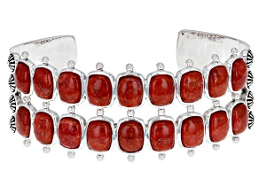 Red Sponge Coral Rhodium Over Sterling Silver Double Row Cuff Bracelet