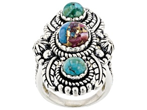 Blended Purple Spiny Oyster Shell with Turquoise Rhodium Over Silver Ring