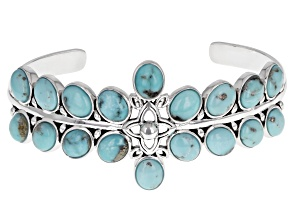 Blue Turquoise Rhodium over Sterling Silver Cuff Bracelet