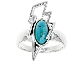 Blue Turquoise Rhodium Over Silver Lightening Bolt Ring