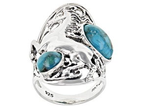 Blue Turquoise Rhodium over Silver Horse 2- Stone Ring