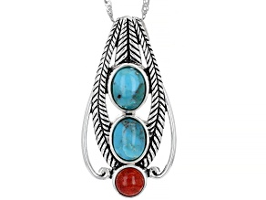 Blue Turquoise and Red Sponge Coral Rhodium over Sterling Silver Pendant with Chain