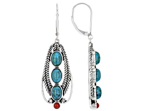 Blue Turquoise and Red Sponge Coral Rhodium over Sterling Silver Earrings
