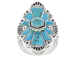 Mixed Shape Blue Turquoise Rhodium over Sterling Silver Ring