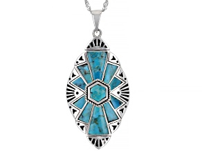 """Mixed Shape Blue Turquoise Rhodium over Sterling Silver Pendant with 18"""" Chain"""