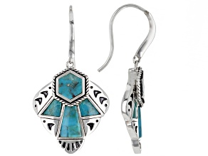 Mixed Shape Blue Turquoise Rhodium over Sterling Silver Dangle Earrings
