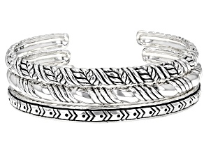 Oxidized Rhodium Over Sterling Silver Set of 3 Cuff Bracelets