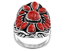 Oval and Pear Red Sponge Coral Rhodium Over Sterling Silver Ring
