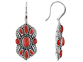 Oval and Pear Red Sponge Coral Rhodium Over Sterling Silver Earrings