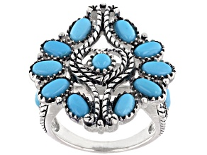Sleeping Beauty Turquoise Rhodium Over Sterling Silver Heart Ring