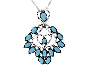 """Sleeping Beauty Turquoise Rhodium Over Sterling Silver Heart Enhancer with 18"""" Chain"""