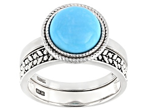 Blue Sleeping Beauty Turquoise Rhodium Over Silver Set of 2 Rings