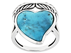 Heart Shape Blue Kingman Turquoise Rhodium Over Sterling Silver Ring