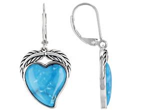 Heart Shape Blue Kingman Turquoise Rhodium Over Sterling Silver Earrings