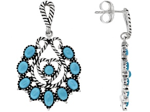 Sleeping Beauty Turquoise Rhodium Over Sterling Silver Heart Earrings