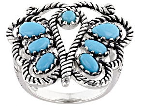 Sleeping Beauty Turquoise Rhodium Over Sterling Silver Butterfly Ring