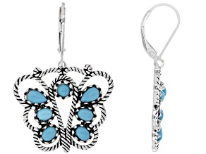 Sleeping Beauty Turquoise Rhodium Over Sterling Silver Butterfly Earrings