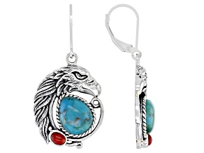 Blue Turquoise and Red Sponge Coral Rhodium Over Silver Eagle Earrings