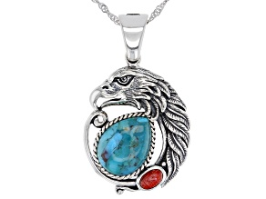 Blue Turquoise and Red Sponge Coral Rhodium Over Silver Eagle Enhancer with Chain