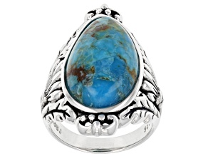 Fancy Shape Blue Turquoise Rhodium Over Sterling Silver Ring