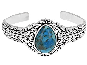 Fancy Shape Turquoise Rhodium Over Sterling Silver Cuff Bracelet