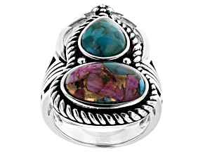 Blended Turquoise and Purple Spiny Oyster Shell Rhodium Over Silver 2-Stone Ring
