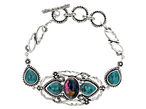 Blended Turquoise and Purple Spiny Oyster Shell Rhodium Over Silver Bracelet