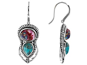 Blended Turquoise and Purple Spiny Oyster Shell Rhodium Over Silver Earrings
