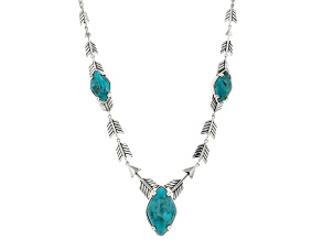 Blue Turquoise Rhodium Over Sterling Silver Arrow Necklace