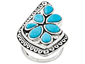 Sleeping Beauty Turquoise Rhodium Over Sterling Silver Cluster Ring