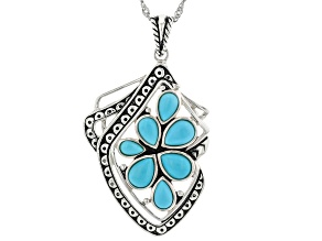 Sleeping Beauty Turquoise Rhodium Over Silver Cluster Enhancer with Chain