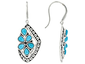 Sleeping Beauty Turquoise Rhodium Over Sterling Silver Cluster Dangle Earrings