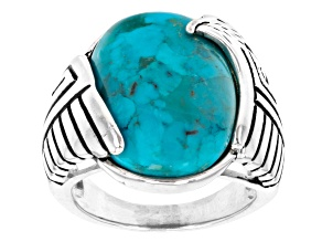 Oval Blue Turquoise Rhodium Over Sterling Silver Eagle Ring