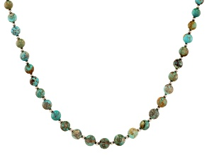Multicolor Turquoise Rhodium Over Sterling Silver Bead Necklace 5-7mm