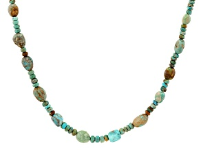 Multicolor Turquoise Rhodium Over Sterling Silver Bead Necklace