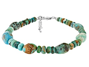 Multicolor Turquoise Rhodium Over Sterling Silver Bead Bracelet