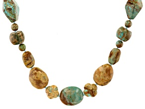 Multi Color Beaded Turquoise Brown Leather Necklace