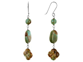 Multi Color Turquoise Rhodium Over Sterling Silver 3-Stone Earrings