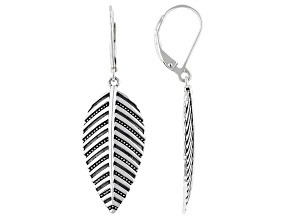 Oxidized Rhodium Over Sterling Silver Leaf Dangle Earrings