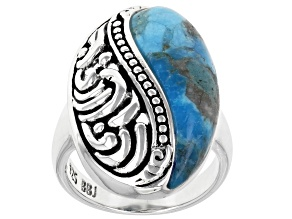 Blue Turquoise Inlay Design Rhodium Over Sterling Silver Ring