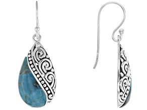 Blue Turquoise Inlay Design Rhodium Over Sterling Silver Earrings