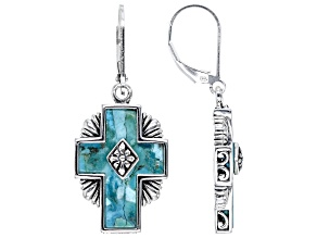 Blue Turquoise Rhodium Over Sterling Silver Cross Earrings