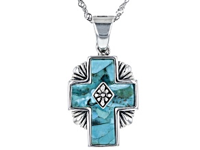 Blue Turquoise Rhodium Over Sterling Silver Cross Enhancer with Chain
