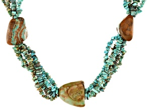 Green Turquoise Nugget, Chips, and Beaded Rhodium over Silver Statement Necklace