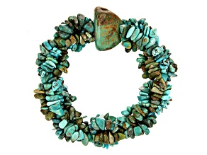 Green Turquoise Nugget, Chips, and Beaded Rhodium over Silver Statement Bracelet