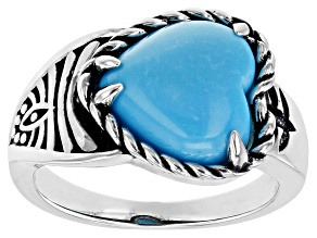 Heart Shaped Sleeping Beauty Turquoise Rhodium Over Silver Ring