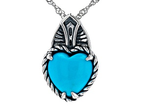 Blue Heart Shaped Sleeping Beauty Turquoise Rhodium Over Silver Pendant with Chain