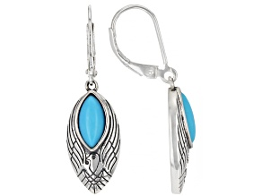 Marquise Sleeping Beauty Turquoise Eagle Rhodium Over Silver Earrings